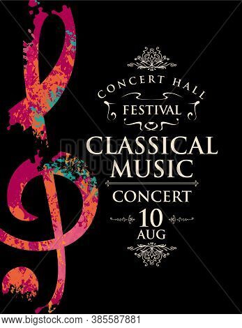 Poster Of A Live Classical Music Concert. Vector Banner, Flyer, Invitation, Ticket Or Advertising Po