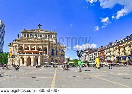 Frankfurt Am Main, Germany - June 2020: Town Square Called 'opernplatz' With Historical Opera House