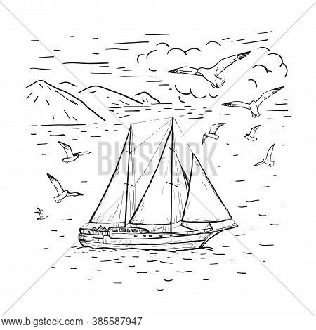 Marine Sketch Hand Drawn Vector Sailboat, Clouds, Seagulls. Vintage Sailing Yacht On The Sea. Black