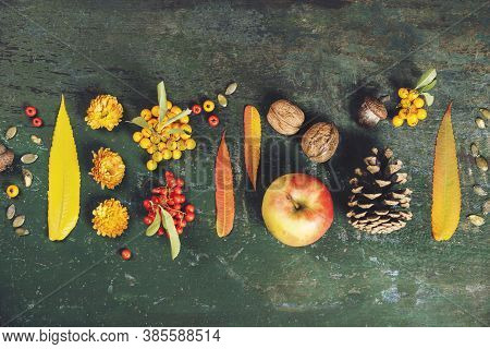 Autumn Background - Fallen Leaves And Healthy Food On Old Wooden Table.