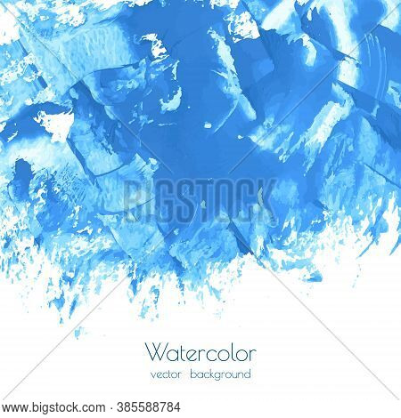 Vector Turquoise Blue, Indigo Watercolor Texture Background, Dry Brush Stains, Strokes, Spots Isolat