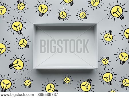 Think Out Of The Box Concepts Box And Lightbulb Drawing Sign Element.creativity Ideas And Work