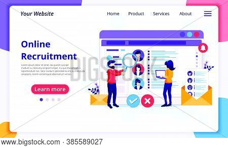 Online Recruitment Concept, People Searching Candidate For A New Employee, Human Resource And Hiring
