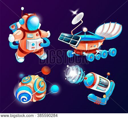 Space Game Elements. Outer Space Objects Symbols And Design Elements Spaceships, Planet, Astronaut.