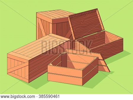Wooden Box Isometric Vector Set Icon. Pallets Fruits And Vegetables Transportation Containers, Drawe