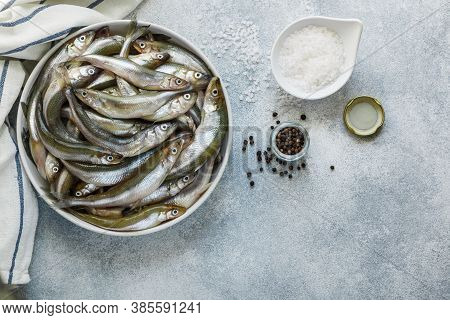 Smelt. Fresh Raw Small Fish In A White Bowl On A Gray Concrete Background. Spices-coarse Sea Salt An