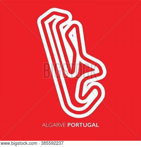 Algarve Circuit, Portugal. Motorsport Race Track Vector Map