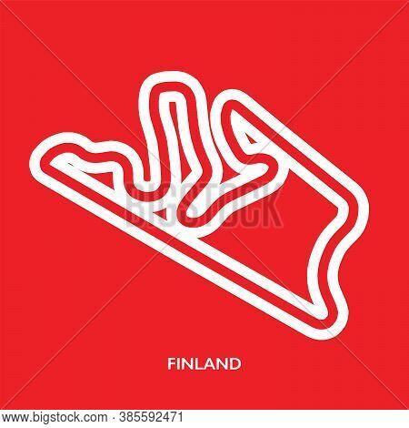 Finland Circuit. Motorsport Race Track Vector Map