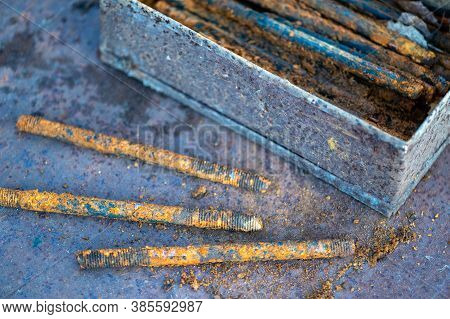 Metal Stud, Fasteold Metal Studs Covered In Rust, Close-up, Selective Focus.ning Part, Rust