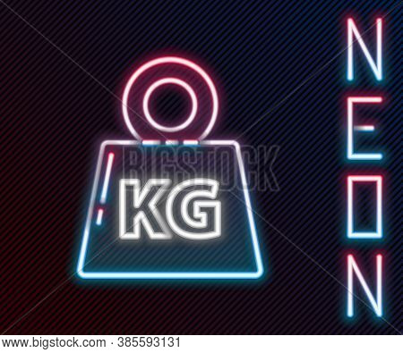 Glowing Neon Line Weight Icon Isolated On Black Background. Kilogram Weight Block For Weight Lifting