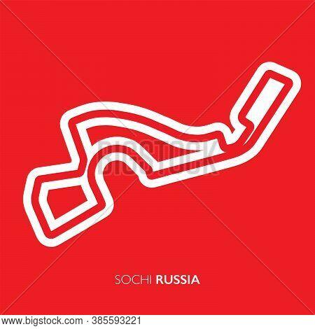 Sochi Circuit, Russia. Motorsport Race Track Vector Map