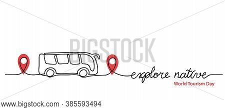 Local Tourism Simple Web Banner , Background, Poster With Pinpoint Icon And Bus. Vector Minimalist B