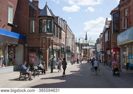 Shops On A Sunny Day On South Street In Dorchester, Dorset In The Uk, Taken On The 20th July 2020