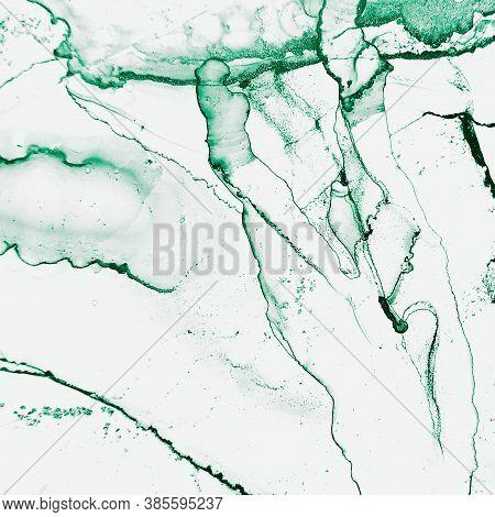Liquid Picture. Alcohol Ink Splash. Luxury Invitation. Green, White Liquid Picture. Aquarelle Swirl.