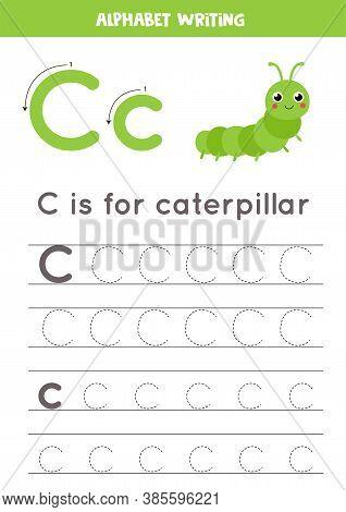 Tracing Alphabet Letter C With Cute Cartoon Caterpillar.