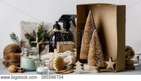 Fabric wrapped gifts, Zero waste beauty body care and house cleaning items and wooden Christmas decorations