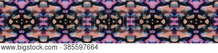 Geometric Rug Pattern. Black And Pink Snake Seamless Texture. Abstract Ikat Motif. Repeat Tie Dye Il