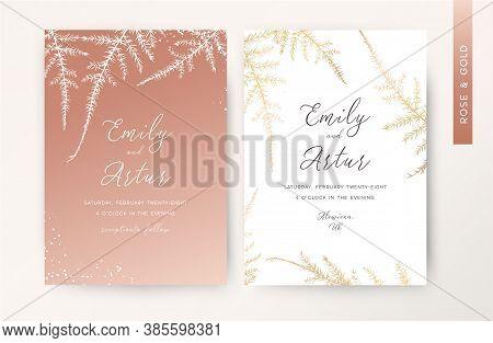 Wedding Invite Card Floral Design. Rose Gold Color Asparagus Fern Leaves Botanical Print With Hand D