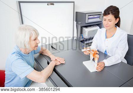 Rheumatologist And Senior Patient, Consultation. Shoulder And Collarbone Injury. Diagnostics And Tre