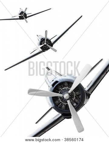 The Fighters. Vintage planes on a white background. Retro technology background.