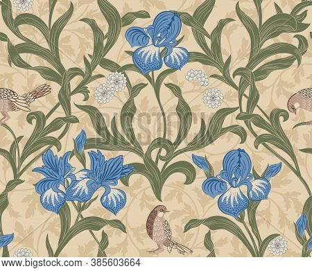 Vintage Floral Seamless Pattern With Orange Flowers And Foliage On Dark Blue Background. Middle Ages