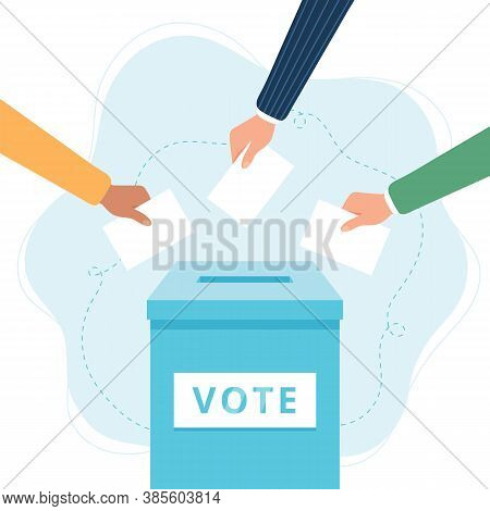 Vote Ballot Box. Hands Putting Votes Into The Box. Election Concept.