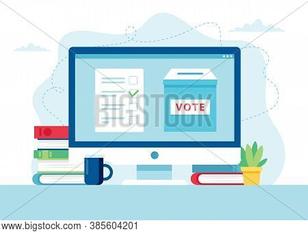 Online Voting Concept. A Ballot Box And A Bulletin On Monitor.
