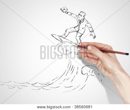 Black and white drawing about risk and dangers in business poster