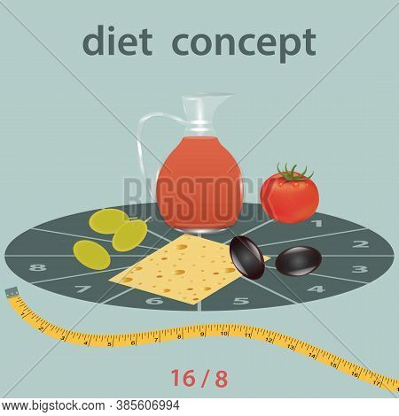 Intermittent Starvation Diet - 8 And 16 Hours A Glass Jar With Juice, Tomato, Cheese, Olive, The Mea