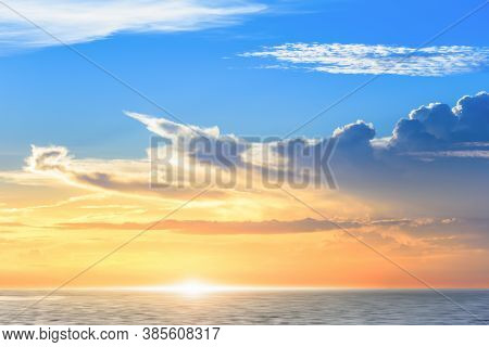 Beautiful Colorful Sunset At The Sea With Dramatic Clouds And Sun Shining, Blue Sky ,twilight Time
