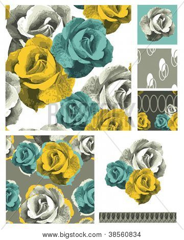 Contemporary Rose Seamless Patterns.