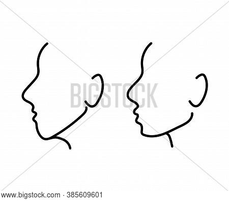 Silhouette Of A Human Head On A White Background. Correction Of The Shape Of The Face And Chin. Vect