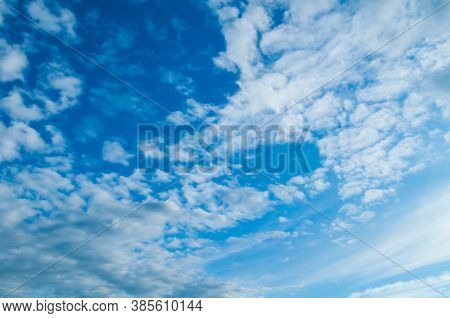 Dramatic blue sky background, vast sky landscape panoramic scene. Colorful sky view in bright tones, vast sky landscape. Bright blue sky background, sky clouds in sunny weather