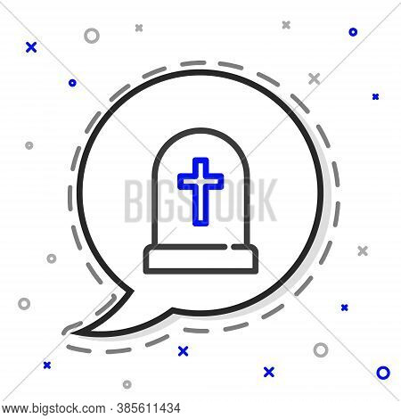 Line Tombstone With Cross Icon Isolated On White Background. Grave Icon. Happy Halloween Party. Colo