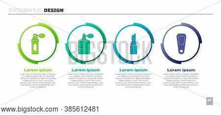 Set Perfume, Perfume, Lipstick And Hand Mirror. Business Infographic Template. Vector