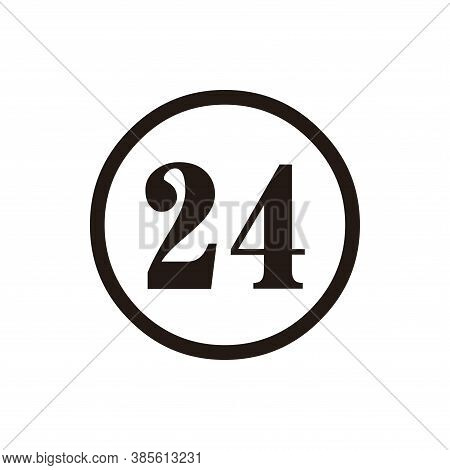 Number 2 Icon Vector. Number 24 Icon Isolated On White Background. Number 24 Icon Simple And Modern.