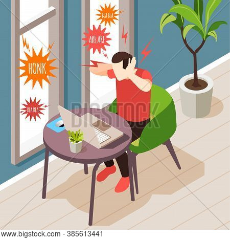 Noise Pollution Isometric Composition With Indoor Scenery And Man Having Trouble Doing Work With Sou