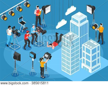 Isometric Cinematography Composition Of Film Set Scenery With Skyscrapers And Characters Of Lighting