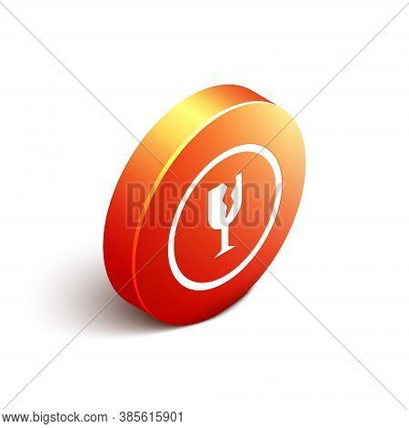 Isometric Fragile Broken Glass Symbol For Delivery Boxes Icon Isolated On White Background. Orange C