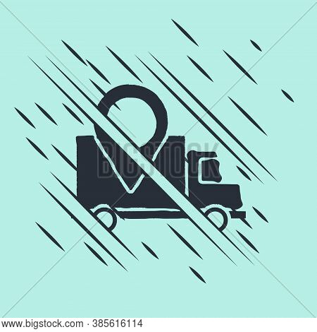 Black Delivery Tracking Icon Isolated On Green Background. Parcel Tracking. Glitch Style. Vector Ill