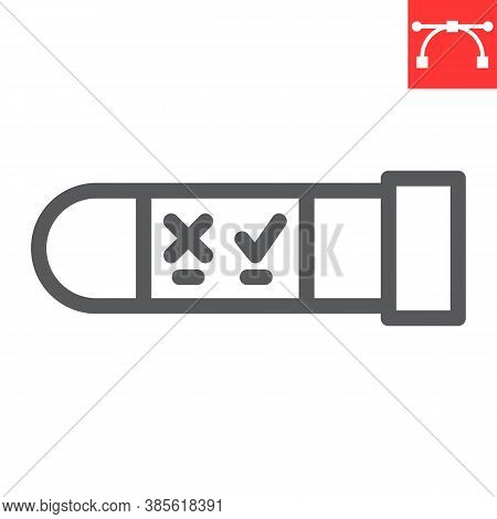 Hiv Test Tube Line Icon, Aids And Hiv, Vial For Analysis Sign Vector Graphics, Editable Stroke Linea