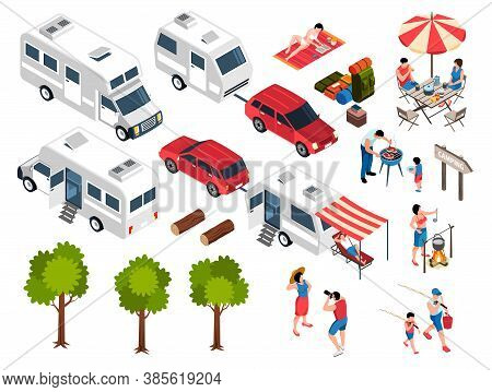 Isometric Family Trip Camper Set Of Isolated Icons Human Characters And Images Of Cars Camper Vans V