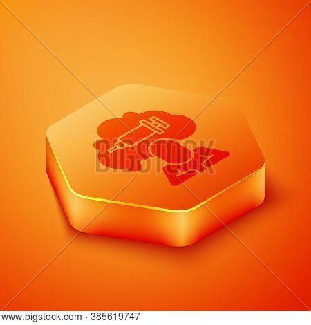 Isometric Addiction To The Drug Icon Isolated On Orange Background. Heroin, Narcotic, Addiction, Ill