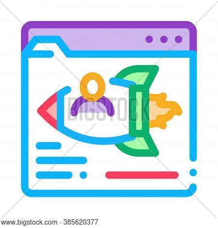 Web Site Find Fast Job Icon Vector. Web Site Find Fast Job Sign. Isolated Contour Symbol Illustratio