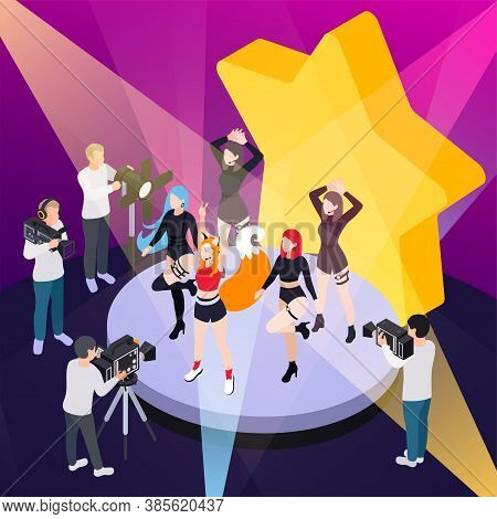 Pop Music Show Isometric Poster With Reporters Videotaping Performance Of Dance Group Vector Illustr