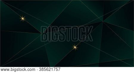 Emerald Luxury Gold Background. 3d Abstract Polygonal Sparkle Cover. Golden Rich Vip Triangular Desi