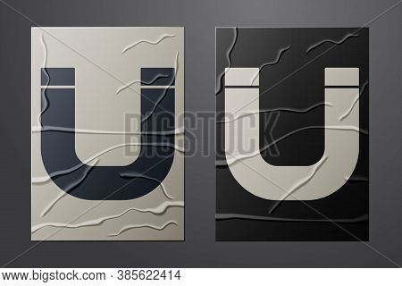 White Magnet Icon Isolated On Crumpled Paper Background. Horseshoe Magnet, Magnetism, Magnetize, Att
