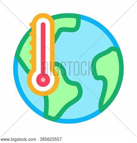 Earth Temperature Icon Vector. Earth Temperature Sign. Isolated Contour Symbol Illustration