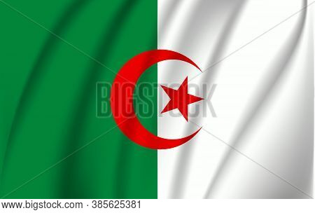 National Flag Of Algeria. Abstract National Flag Waving With Curved Fabric Background. Realistic Wav