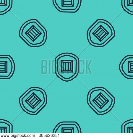 Black Line Delivery Security With Shield Icon Isolated Seamless Pattern On Green Background. Deliver